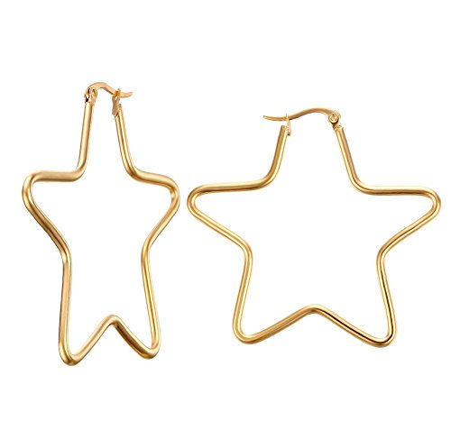 Vnox Womens Girls Stainless Steel Simple Big Star Shape Hoop Earrings,Gold Plated,Clip-top