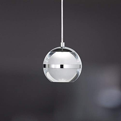 Liinmall Modern Globe LED Acrylic Pendant Lights Dining Room Ceiling Light Fixture Ambient Light Chrome Metal Acrylic LED 110-120V Cold White