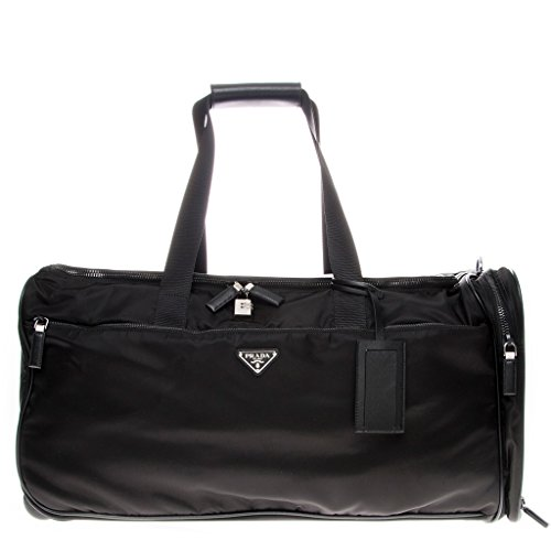 Prada Duffel (Prada Women's Nylon and Leather Trolley/Duffle Bag Black)