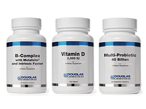 Douglas Laboratories Supplement Bundle (3 Items) – B-Complex with Metafolin + Vitamin D 5000iu + Multi-Probiotic 40 Billion by BEST Supplements