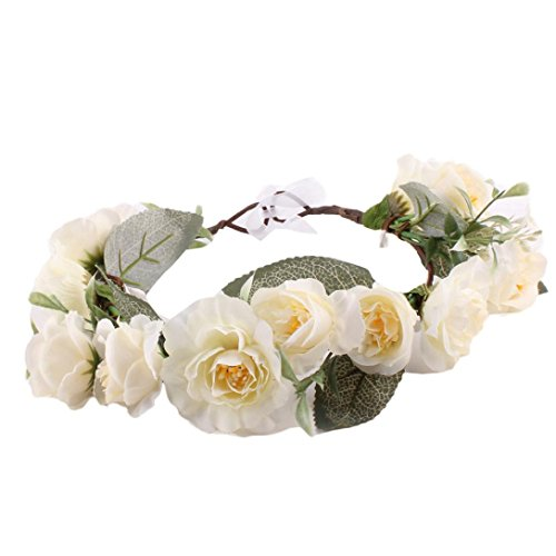 Sunfei Fashion Baby Kids Handmade Rose Flower Headband Wreath Headdress Band Accessories (Beige)