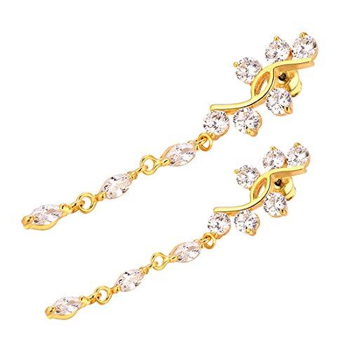 - U7 Belly Rings Piercing Jewelry Women Cubic Zirconia Dangle Navel Ring,2 Pcs Set (1 18k Gold,1 Platinum Plated)