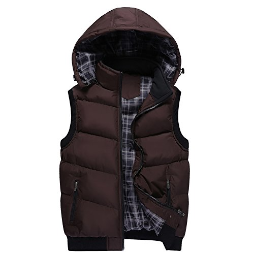 Unisex Stand Collar with Removable Hood Padded Quilted Vest Coffee US Size M(Tag Size (Bubble Vest)
