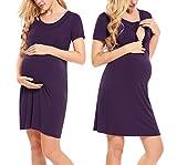 Hotouch Women's Maternity Dress Nursing Nightgown for Breastfeeding Nightshirt Sleepwear Dark Purple M