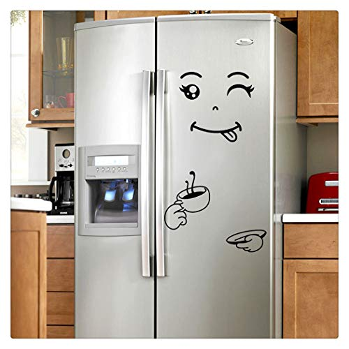 Alixyz Fridge Cute Decal DIY Home Decor Wall Decorations Happy Delicious Face Fridge Decal Dining Room Wall Stickers Kitchen Wall Decal (C)