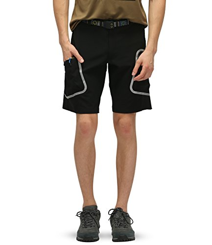 Outto Men's Bike Shorts Lightweight Quick Dry Casual Wear Outdoor Sports(34-36,Black)