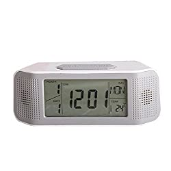 Digital Alarm Clock, Loud Electric Clocks with Snooze, Sound Control, Countdown Time Setting, Small Alarm Clocks for Kids, Women, Desk, Home, Kitchen, Bedside (white/black)