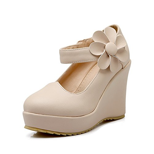 High Closed Heels Solid WeiPoot Toe and Beige Round Loop Shoes Pumps Women's Hook Hqqw80X