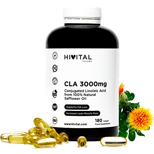 CLA Ácido Linoleico Conjugado 3000 mg por dosis   180 perlas de Aceite Vegetal de Cártamo (Suministro para 2 meses)   Para Perder peso, Aumentar la musculatura, Quemar grasa y Adelgazar.