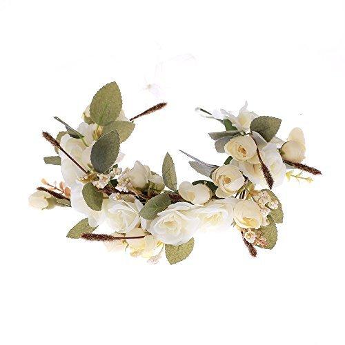 Love Sweety Rose Flower Headband Floral Crown Garland Halo (Ivory) -