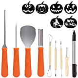 POKONBOY Halloween Pumpkin Carving Tools kit, 8 Piece Heavy Stainless Steel Carving Knives and 1 Pen with 6 Carving Stencils DIY Halloween Jack-O-Lantern for Pumpkin Party Decorations