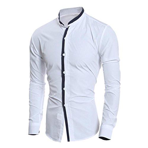 Hunzed Men Fashion Slim Long-sleeved Shirt Casual Personality Top Blouse (White, XL)