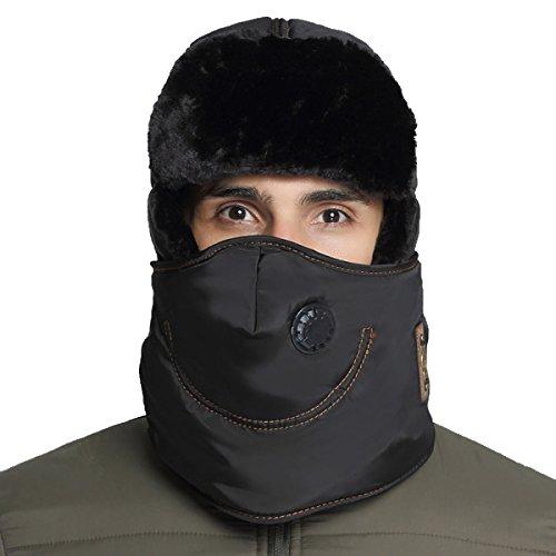 Hombres Winter Warm Bomber Hat Máscara A Prueba De Viento Winter Ear Flap Outdoor Sports Snow Máscara A Prueba De Viento Classic Black