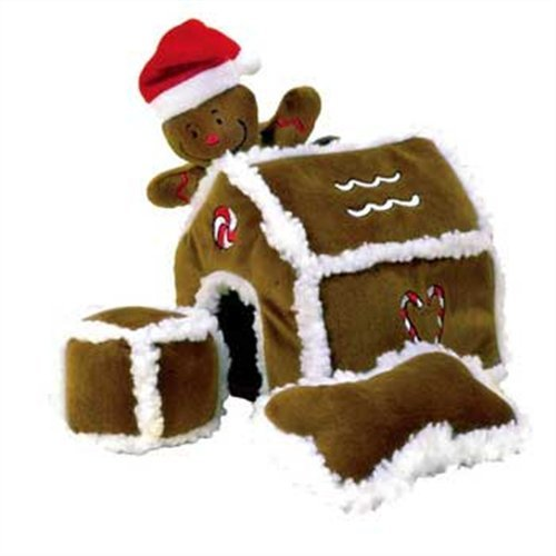 Outward Hound Kyjen PP01797 Gingerbread House Dog Toys Plush Interactive Puzzle Squeaking Toy For Dogs, Large, Brown…