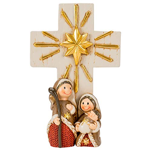Dicksons Holy Family with Cross Gold Toned 4 inch Resin Stone Christmas Holiday - Stone Gold Family