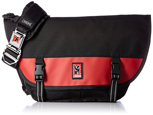 Chrome BG-001-BKRD Black/Red One Size Mini Metro Messenger Bag Chrome Buckle Black Mini Messenger Bag