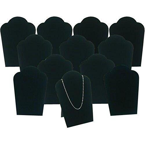 (12 Black Velvet Necklace Pendant Jewelry Bust Display Easel 3 3/4