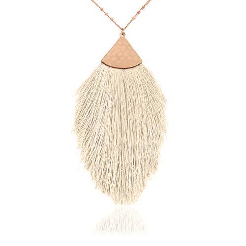 RIAH FASHION Bohemian Pendant Statement Long Necklace - Silky Thread Fan Tassel Strand Fringe, Teardrop (Petal Tassel - Ivory) (Ivory Necklace Womens)