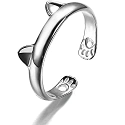 Creativelife Women's S925 Sterling Silver Cat Ears Women Open Ring,Adjustable