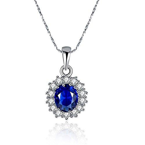 Women's Classic CZ Round Cut Blue Sapphire Crystal Pendant Necklace With Swarovski Element 18' Chain