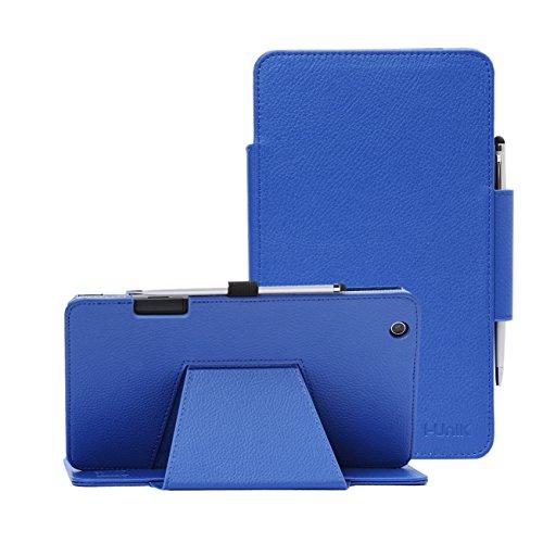 i-UniK AT&T TREK 2 HD Case (2016) Model #6461A 8 inch Tablet Support Sleep Awake Function Cover Case with Bonus Stylus (Blue)