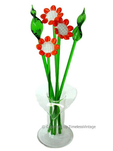 Amazon Art Glass Miniature Sunflower Flower Set Vase Home