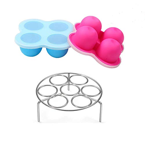 Silicone Egg Bites Molds for Instant Pot Accessories 3 Qt by ULEE - Fits Instant Pot 3/5/6/8 Qt Pressure Cooker, Stainless Steel Egg Steamer Rack Included