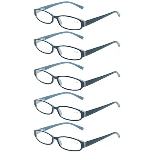 Reading Glasses Comb Pack of Multiple Fashion Men and Women Spring Hinge Readers (5 Pack Blue, 3.5)