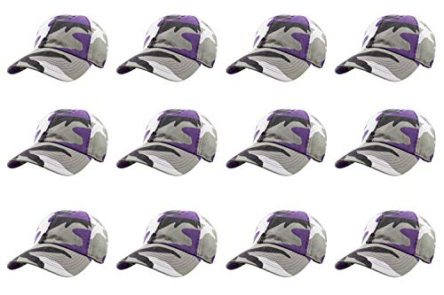 Wholesale Camo Caps - Gelante Baseball Caps 100% Cotton Plain Blank Adjustable Size Wholesale LOT 12 Pack (Purple Camo)