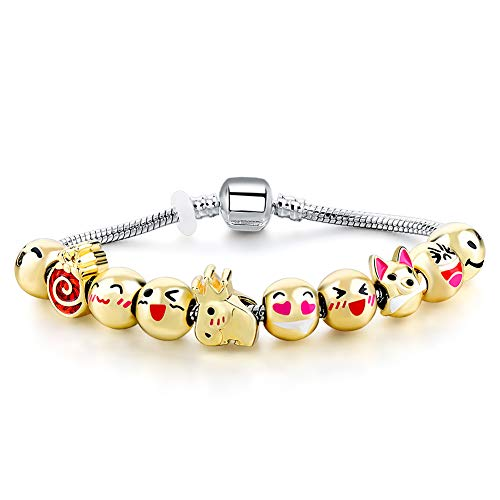 Long Way Gold Plated Emoticon Beaded Charms Bracelet with 10pcs Original Design Enamel Face Beads