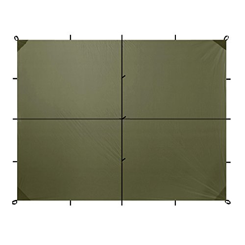 Aqua Quest Safari Tarp Large 13 x 10 ft Olive Drab - Lightweight Waterproof Sil Nylon Camping Tarp Tent Shelter - 19 Tie Down Loops for Unlimited Set Up Options - Silicone Nylon Tarp