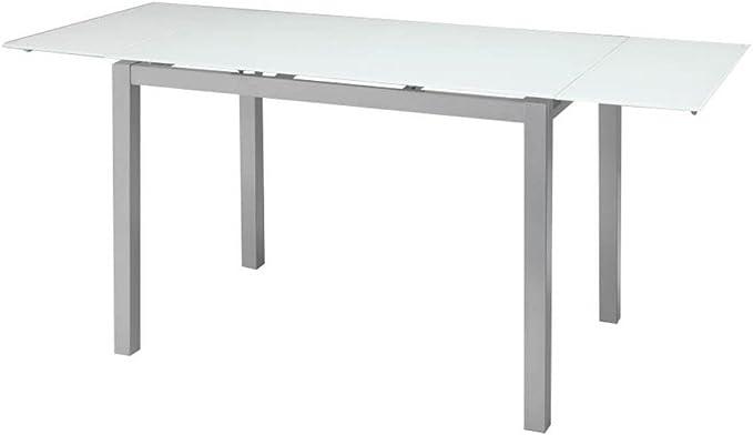 Tomasucci Fast mesa extensible de metal y cristal templado Blanco ...