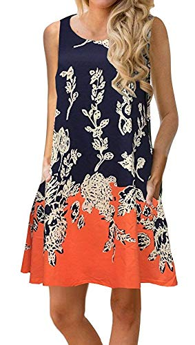 Silvous Sun Dress t-Shirt Dresses for Women Sleeveless Sundresses with Side Pockets (Orange S)