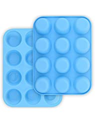 homEdge 12-Cup Silicone Muffin Pan, Pack of 2 Non-Stick Muffin Molds, Baking Pan for Cupcake, Tarts-Blue
