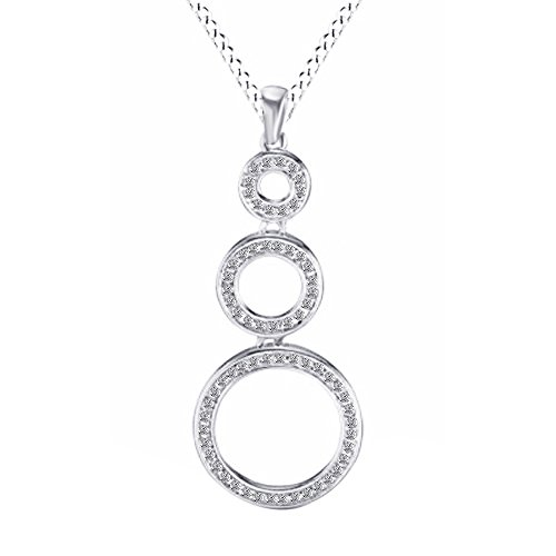 Three Drop Circle Pendant (Natural Diamond Three Circle Drop Pendant Necklace in 14k White Gold Over Sterling Silver)