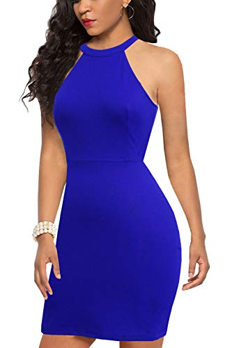 Bodice Dress Halter (Liyinxi Sexy Halter Neck Sleeveless Open Back Cocktail Party Royal Blue Summer Lace Bodycon Pencil Dresss (M, 6036-Royal Blue))