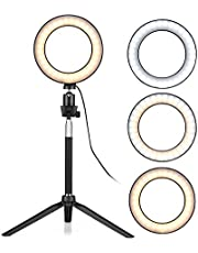 Andoer 6 Inch Mini LED Ring Light Photography Lamp Dimmable 3 Lighting Modes USB Powered with Telescopic Stand Mini Desktop Tripod Ballhead for Selfie Photography