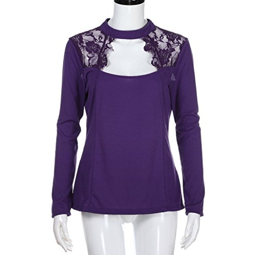 Manches T Grande Couleur Unie Shirt Dcontracte Tops Patchwork Blouse Longues Violet Dentelle Taille Femmes Hauts AnY57xF