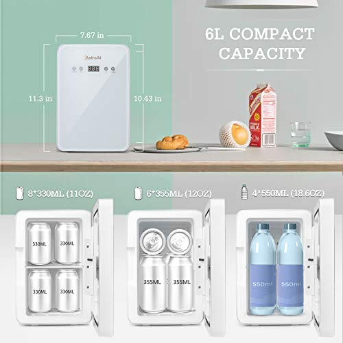 AstroAI Mini Fridge 6 Liter/8 Can Skincare Fridge for Bedroom - with Upgraded Temperature Control Panel - AC/12V DC Thermoelectric Portable Cooler and Warmer for Skin Care, Medications (White)