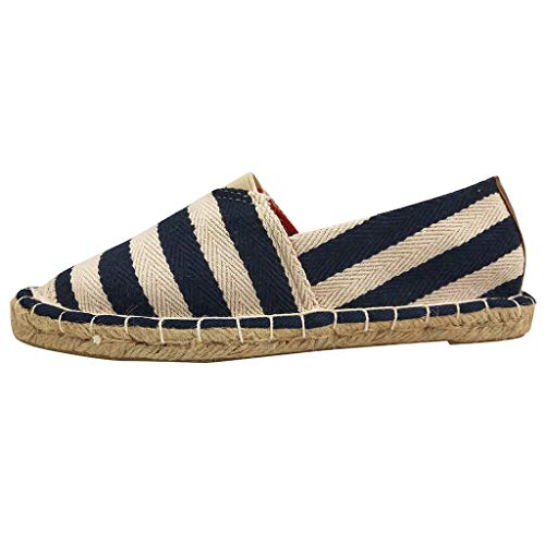 〓COOlCCI〓Women Loafers & Slip-Ons,Women's Traditional Flat Marine Stripe Canvas Espadrilles Flat Shoes,Fashion Sneakers -