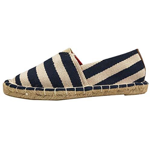 〓COOlCCI〓Women Loafers & Slip-Ons,Women's Traditional Flat Marine Stripe Canvas Espadrilles Flat Shoes,Fashion Sneakers Black