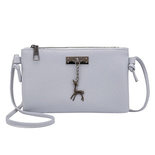 Womens Shoulder Handbags Small Deer Messenger Coin Purses Bag Crossbody Bags Inkach Leather Gray xEqHfwn0PO
