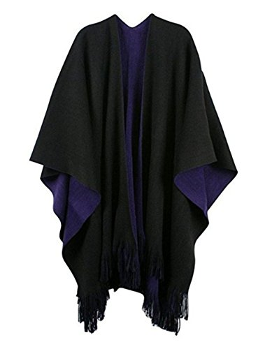 Women's Winter Knitted Cashmere Poncho Capes Shawl Cardigans Sweater Coat (Black-Purple)