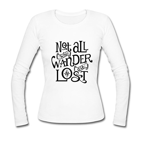Crest White Long Sleeve (AHHACHI Womens The Lord Of The Rings Not All Wander Lost Logo Long Sleeve Tees Medium White)