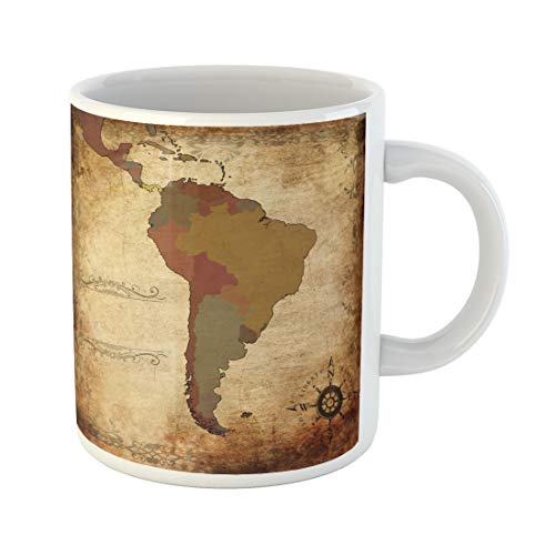 Semtomn Funny Coffee Mug Latin of Ancient Map South America People Uruguay Argentina Bolivia 11 Oz Ceramic Coffee Mugs Tea Cup Best Gift Or Souvenir