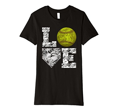 Womens Softball Distressed Ball T-Shirt Cute Mom Love Tee Large Black (Softball Mom T-shirt)