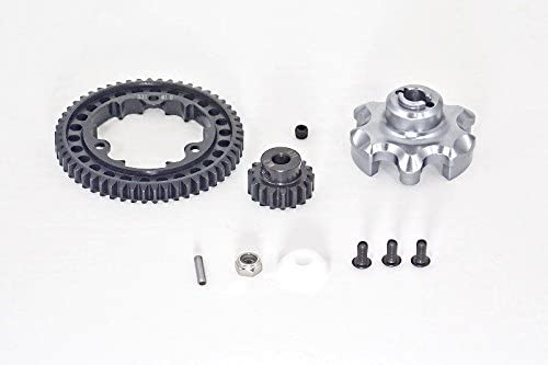 Traxxas X-Maxx 4X4 Upgrade Parts Aluminum Gear Adapter + Steel Spur Gear 53T + Motor Gear 17T (for X-Maxx 6S Only) - 1 Set Gray Silver 41UbAPyl-ZL