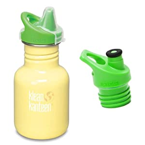 Klean Kanteen 12 oz Stainless Steel Water Bottle with 2 Caps (Kid Kanteen Sippy Cap and Sports Cap 3.0 in Bright Green) - Yellow Sunshine