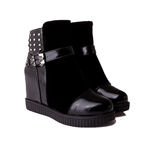 AmoonyFashion Womens Zipper Round Closed Toe High Heels Blend Materials Mid Top Boots Black sPmXz