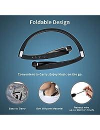 AMORNO Auriculares Bluetooth plegables inalámbricos con banda para el cuello con auriculares retráctiles, deportivos, a prueba de sudor, cancelación de ruido, auriculares estéreo con micrófono (negro)